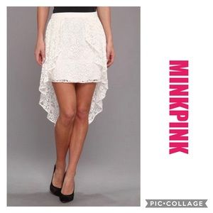 🆕 MINKPINK Lace Skirt with High Low Lace Ove…